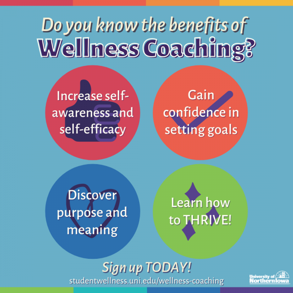 Benefits of Wellness Coaching...increase self-awareness and self-efficacy, gain confidence in setting goals, discover purpose & meaning, learn how to thrive