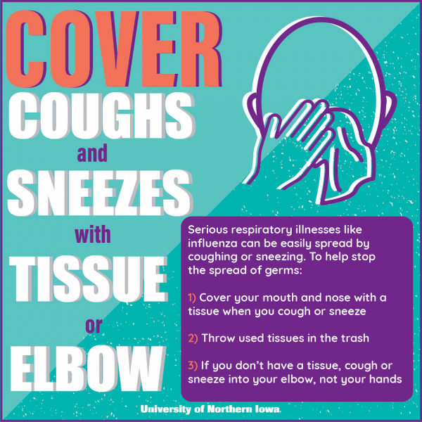 Cover coughs and sneezes with tissue or elbow