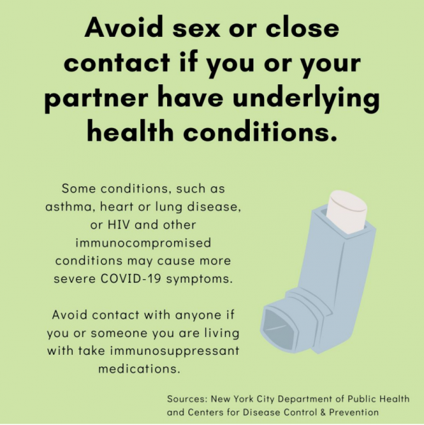 Avoid sex or close contact if you or your partner have underlying healthy conditions.